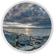 Curve Off The Bay Round Beach Towel