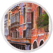 Curved Canal Venice Round Beach Towel