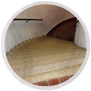 Curved Stairway At Brandywine River Museum Round Beach Towel