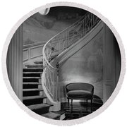 Curving Staircase In The Home Of  W. E. Sheppard Round Beach Towel