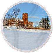 Cushing Academy In Winter Round Beach Towel