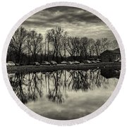 Cushwa Basin C And O Canal Black And White Round Beach Towel