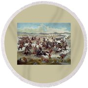 Custer's Last Charge Round Beach Towel
