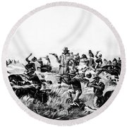 Custer's Last Fight, 1876 Round Beach Towel