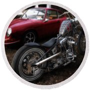 Custom Bike And Porsche Round Beach Towel