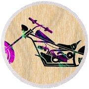 Custom Chopper Motorcycle Round Beach Towel