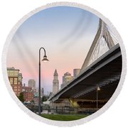 Custom House And Zakim Bridge Round Beach Towel