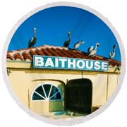 Customers At The Baitshop Round Beach Towel