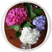 Cut Hydrangeas Round Beach Towel
