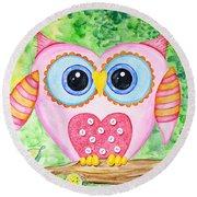 Cute As A Button Owl Round Beach Towel