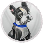 Boston Terrier Wall Art Round Beach Towel