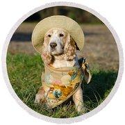 Cute Dog Round Beach Towel