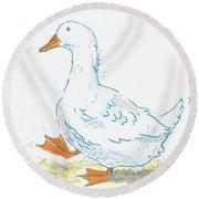 Cute Duck Cartoon Round Beach Towel