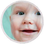 Cute Happy Baby Smiling In A Bathroom Round Beach Towel
