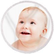 Cute Happy Baby Smiling On White Round Beach Towel