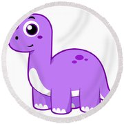 Cute Illustration Of A Brontosaurus Round Beach Towel