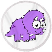 Cute Illustration Of A Triceratops Round Beach Towel