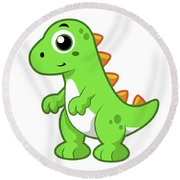 Cute Illustration Of Tyrannosaurus Rex Round Beach Towel