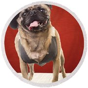 Cute Pug Dog In Vest And Top Hat Round Beach Towel