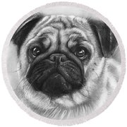 Cute Pug Round Beach Towel