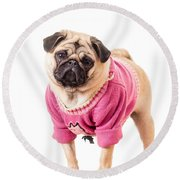 Cute Pug Wearing Sweater Round Beach Towel