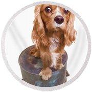 Cute Puppy Card Round Beach Towel by Edward Fielding