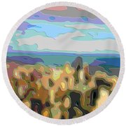 Cutout Art Ocean Skyline Round Beach Towel