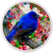 Cutout Layer Art Animal Portrait Bird Blue Round Beach Towel