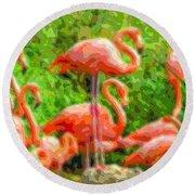 Cutout Layer Art Animal Portrait Flamingo Round Beach Towel