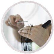 Cutting Hair Round Beach Towel