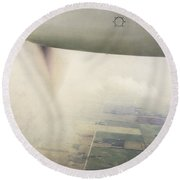 Cutting Through The Fog With Turboprop Over Alberta Round Beach Towel