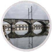 Cv - Susquehanna River Bridge Harrisburg  Pennsylvania Round Beach Towel