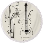 Cw Russell Acoustic Electric Guitar Patent 1939 Round Beach Towel