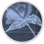 Cyan Negative Wood Flower Round Beach Towel