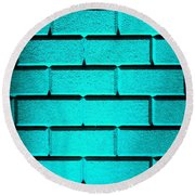 Cyan Wall Round Beach Towel