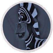 Bluegray Zebra Round Beach Towel