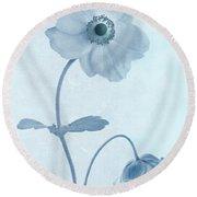 Cyanotype Windflowers Round Beach Towel