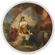Cybele Opposing Vesuvius To Protect The Cities Of Stabia Round Beach Towel
