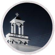Cyclades Greece - Andros Island Church Round Beach Towel