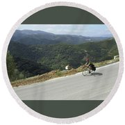 Cycling In Greek Mountains Round Beach Towel