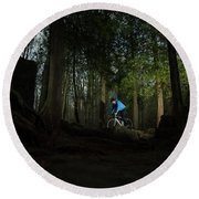 Cyclist In Mountain Forest Round Beach Towel