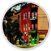 Cyclists Crossing Rue Clark Corner Wilensky Spring Street Scene Montreal Art Carole Spandau Round Beach Towel