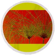 Cyperus Papyrus Abstract Round Beach Towel