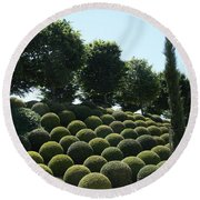 Cypress And Boxwood Garden Round Beach Towel