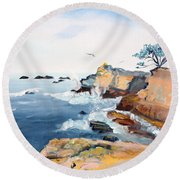Cypress And Seagulls Round Beach Towel