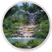 Cypress Garden Waterfalls Round Beach Towel