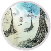 Cypress In Ink Round Beach Towel