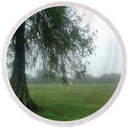 Cypress In The Mist Round Beach Towel