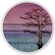 Cypress Purple Sky Round Beach Towel