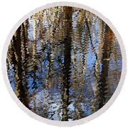 Cypress Reflection Nature Abstract Round Beach Towel by Carol Groenen